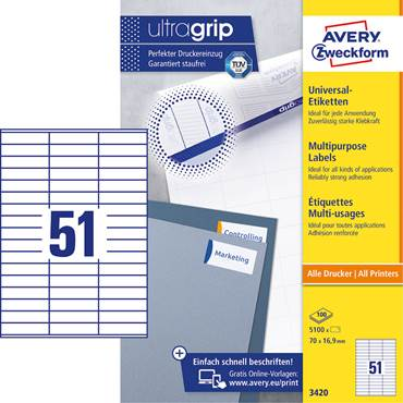 P5922020 Multifunktionsetiketter Avery med Ultragrip